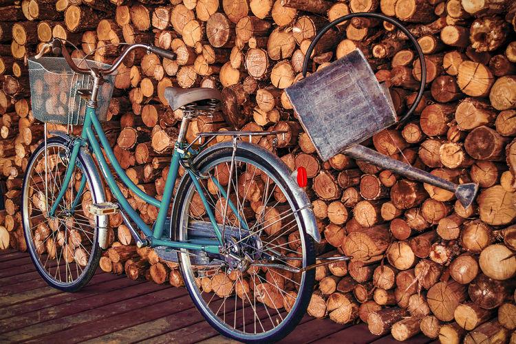 High angle view of bicycle on wood