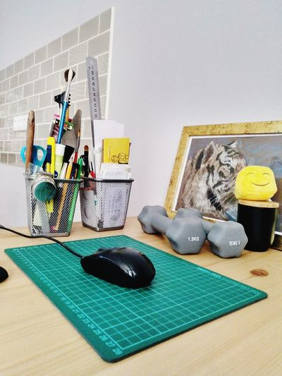 instruments Desk Organizer Desk Picture Mousepad Dumbbells Table Surface No People Mousepad Computer Mouse Computer Equipment Group Of Objects Colored Pencil Pencil Desk Organizer Writing Instrument Group School Supplies The Still Life Photographer - 2018 EyeEm Awards
