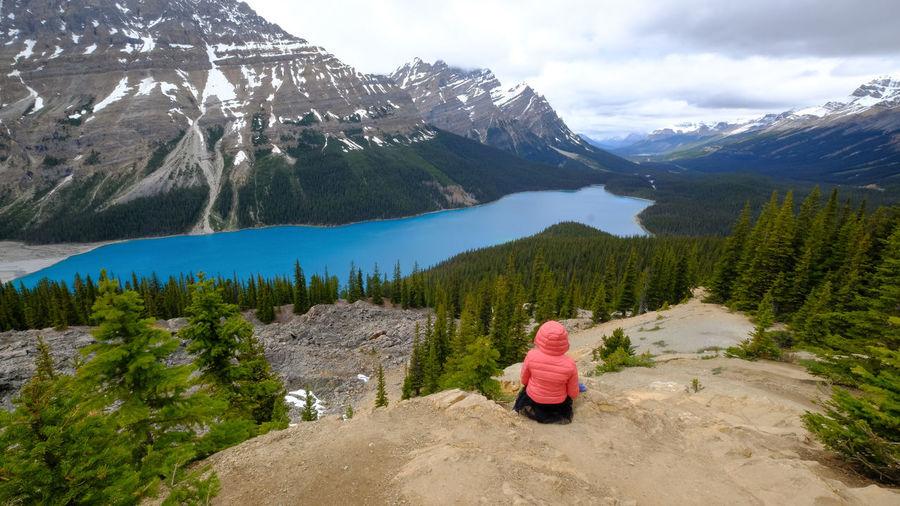 People enjoys a beautiful mountain lake. peyto lake, canadian rockies, banff, alberta, canada