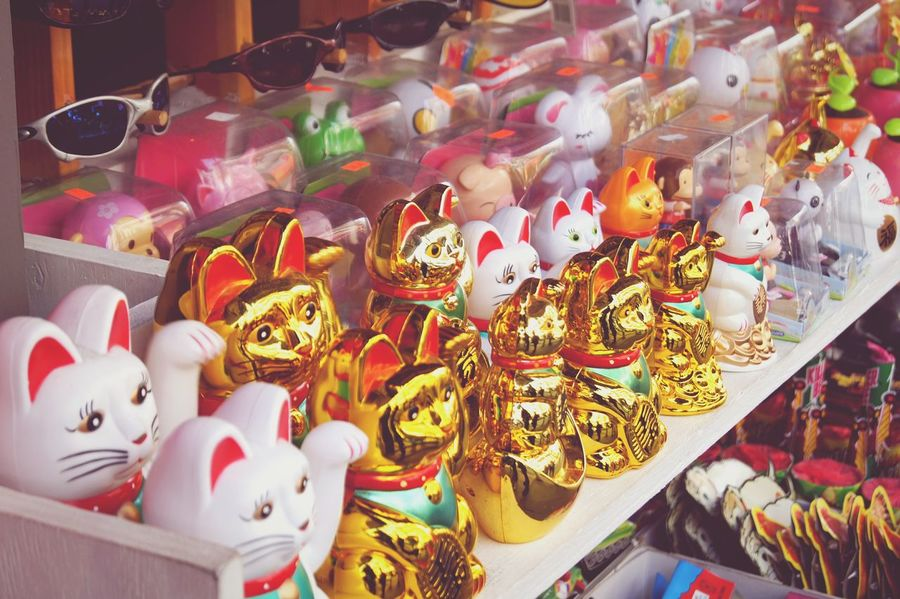 Large Group Of Objects Variation For Sale Multi Colored Retail  Collection Shop Cats Winking Cat Waving Cat Luck Fortune Gold San Francisco Chinatown