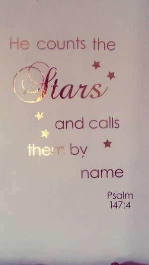Psalm147 Bible Verses Stars Name Text Communication No People Gold Colored Handwriting  Indoors  Coin Cheerful Day