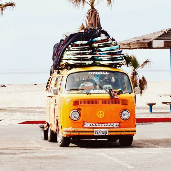 It's time to surf 🏄♀️ Healthy Lifestyle Sport Passion Sony Losangeles California Venice EyeEm Gallery Eyemphotography Hello World Oldschool Surf Surfingphotography Surf Outdoors Sand Transportation Mode Of Transport Day Sky