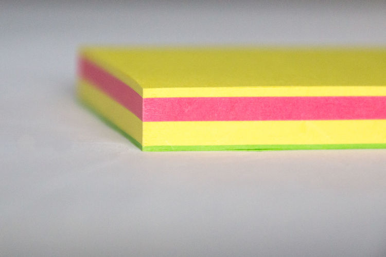 Close-up Colours Copy Space Corner Green Layers Multi Colored No People Paper Pink Post Its Reminder Stationery Sticky Notes Variation Vibrant Colour White Background Yellow