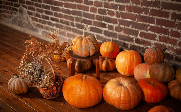 Pumpkins in market stall