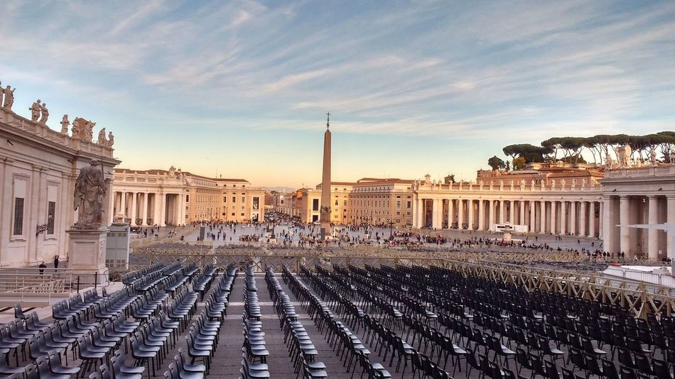 Ancient Architecture Blue Sky Chairs City Columns Culture History Landmark Monument Plaza Rome Rows Of Chairs St Peter's Square Travel Destinations Vatican Vatican City Obelisk Colonnades Piazza