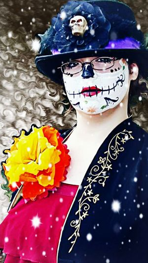 Girl Portrait Photography EyeEm Best Edits Photo Art Beautiful Close-up Playing With Effects EyeEm Best Shots Thoughts?  Woman Daughter Masquerade Dance Facepaint Sugarskull