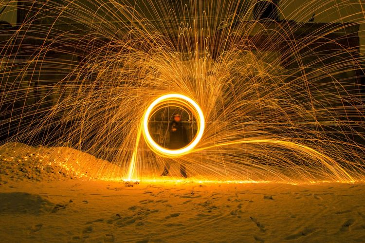 Heat - Temperature Long Exposure Motion Night One Person Outdoors Sparks Speed Spinning Wire Wool