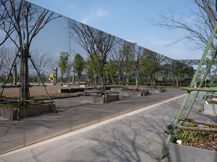 Empty park against sky