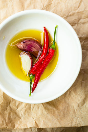 High angle view of chili peppers in plate on table