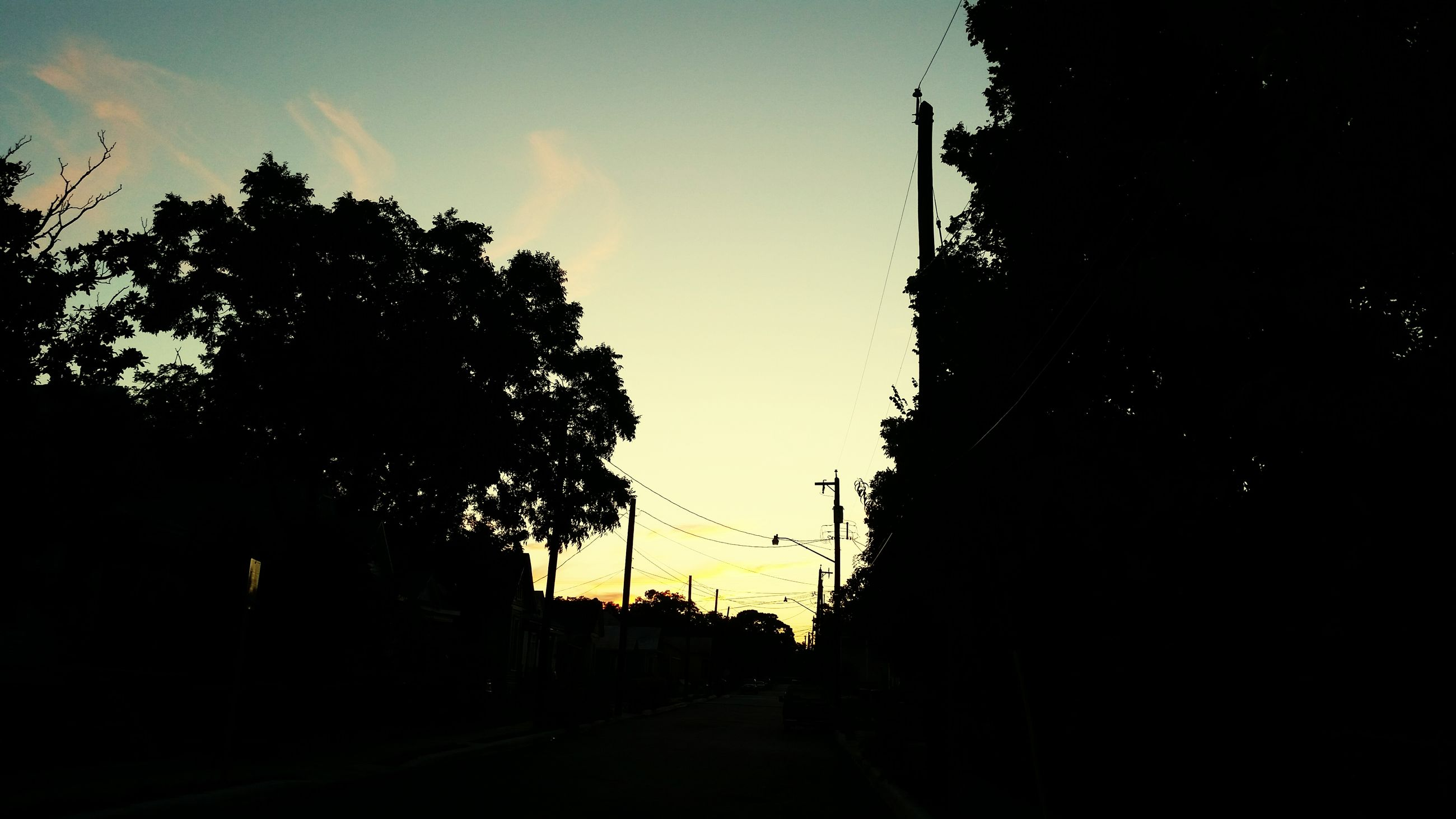 silhouette, built structure, architecture, sky, building exterior, sunset, low angle view, tree, dark, dusk, the way forward, house, outdoors, no people, nature, cloud, building, outline, sunlight, street