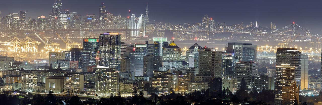 Oakland and san francisco skyline panorama with holidays lights via oakland hills