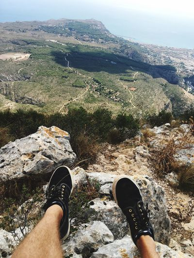 EyeEmNewHere Travel Adventure SPAIN Human Leg Low Section Personal Perspective Shoe Real People One Person Day Mountain Adventure Hiking High Angle View Scenics Outdoors Landscape Nature