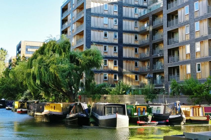 Dock. City Building Exterior Architecture Tree Built Structure Apartment Car City Life Residential Building Outdoors No People Day Water Sky Cityscape Fresh On Eyeem  Canal London London Lifestyle House Boat Adapted To The City