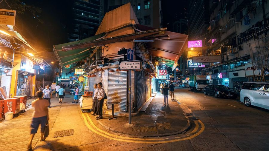 Triangle Street Sony Lifestyles Travel Travel Destinations Landmark Cityscape City View Night HongKong Night Transportation Illuminated Architecture City Built Structure Building Exterior Outdoors Men Real People People Only Men Adults Only Adult