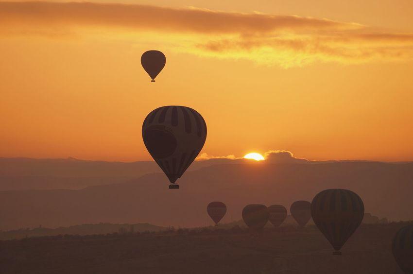 Sunset Hot Air Balloon Silhouette Sky Nature Transportation Sun Ballooning Festival Day