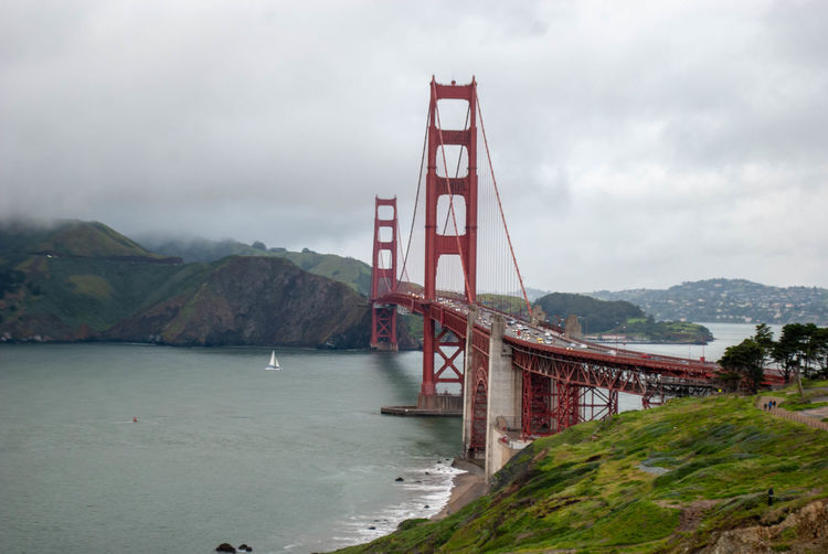 Bridge Bridge - Man Made Structure Water Built Structure Transportation Architecture Suspension Bridge Connection Sky Bay Engineering Cloud - Sky Mountain Nature Travel Bay Of Water Travel Destinations Day Outdoors Golden Gate Bridge