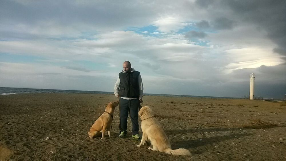 Adults Only Beach Beauty In Nature Cloud - Sky Day Dog Domestic Animals Full Length Horizon Over Water Leisure Activity Mammal Men Nature One Animal One Man Only One Person Only Men Outdoors Pets Real People Scenics Sea Sitting Sky Water Lost In The Landscape