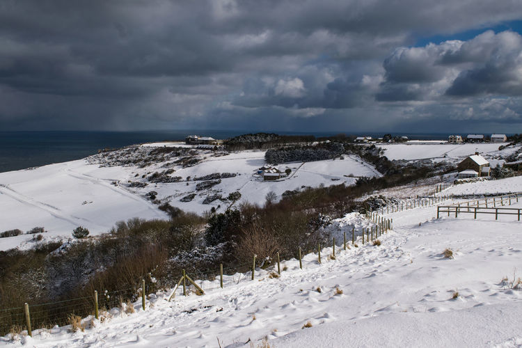 Beast from the East, Ravenscar, North Yorkshire North Yorkshire Ravenhall Weather Whiteout Beast From The East Beauty In Nature Cloud - Sky Cold Temperature Landscape Outdoors Ravenscar Scenics Sea Sky Snow Tranquil Scene Winter