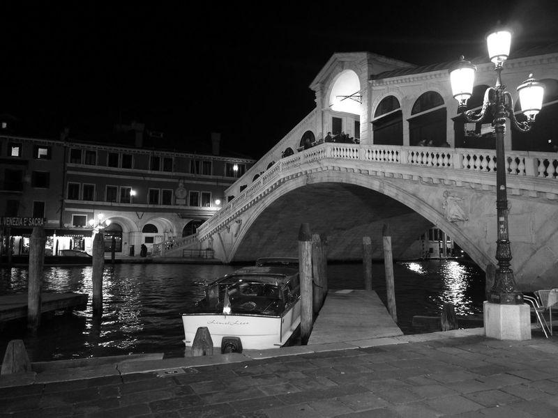 Night bridge at venice Night Architecture Venice Canals Arch