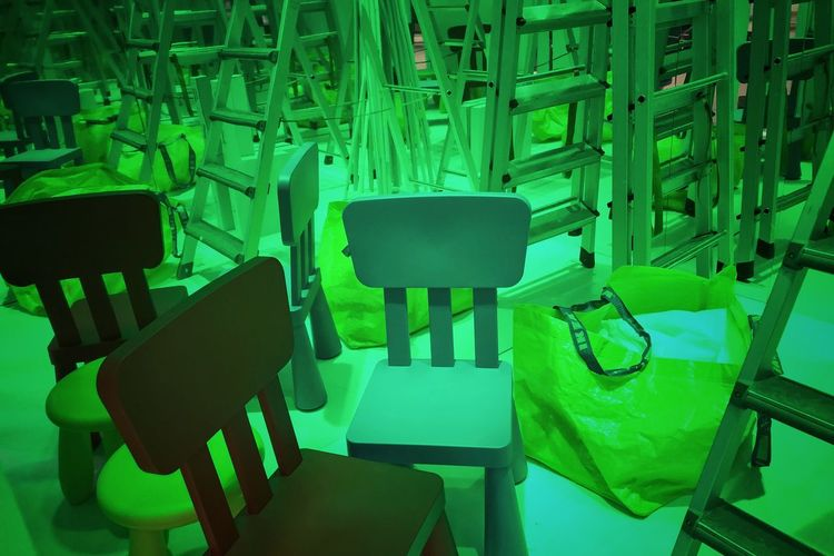Photography Artworks Construction Work Photooftheday Picoftheday Decorations Photographer Design Green Color Chair Seat Empty No People Absence Indoors  In A Row High Angle View Table Arrangement Auto Post Production Filter Still Life Large Group Of Objects Green Repetition