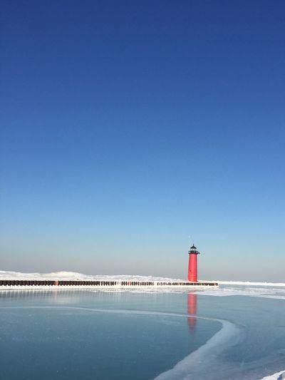 Kenosha Lighthouse Kenosha pier Wisconsin Winter #lighthouse