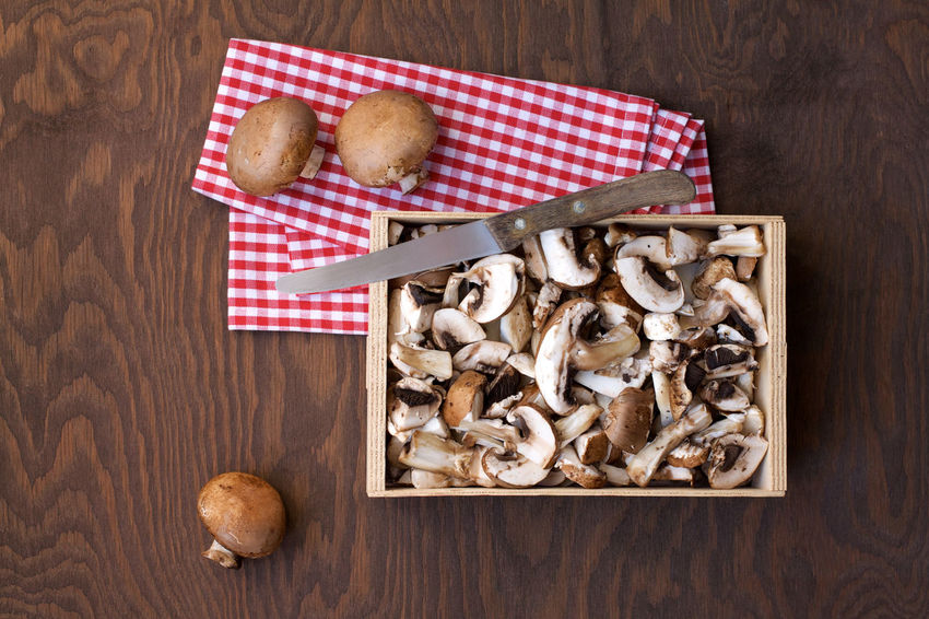Autumn Brown Background Cooking At Home Foodie Mushrooms Mushrooms 🍄🍄 Brown Champignons Food Foodphotography Freshness Healthy Eating High Angle View Ready-to-eat