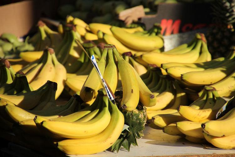 High angle view of bananas at market stall