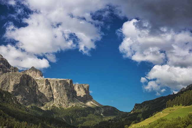 landscapes Corvara, dolomites, italy Alta Badia Alto Adige Altoadige Cloud Colors Corvara Daylight Dolomites Dolomites, Italy Grass Italy Landscape Mountain Sky Sky And Clouds Summer Südtirol Wood