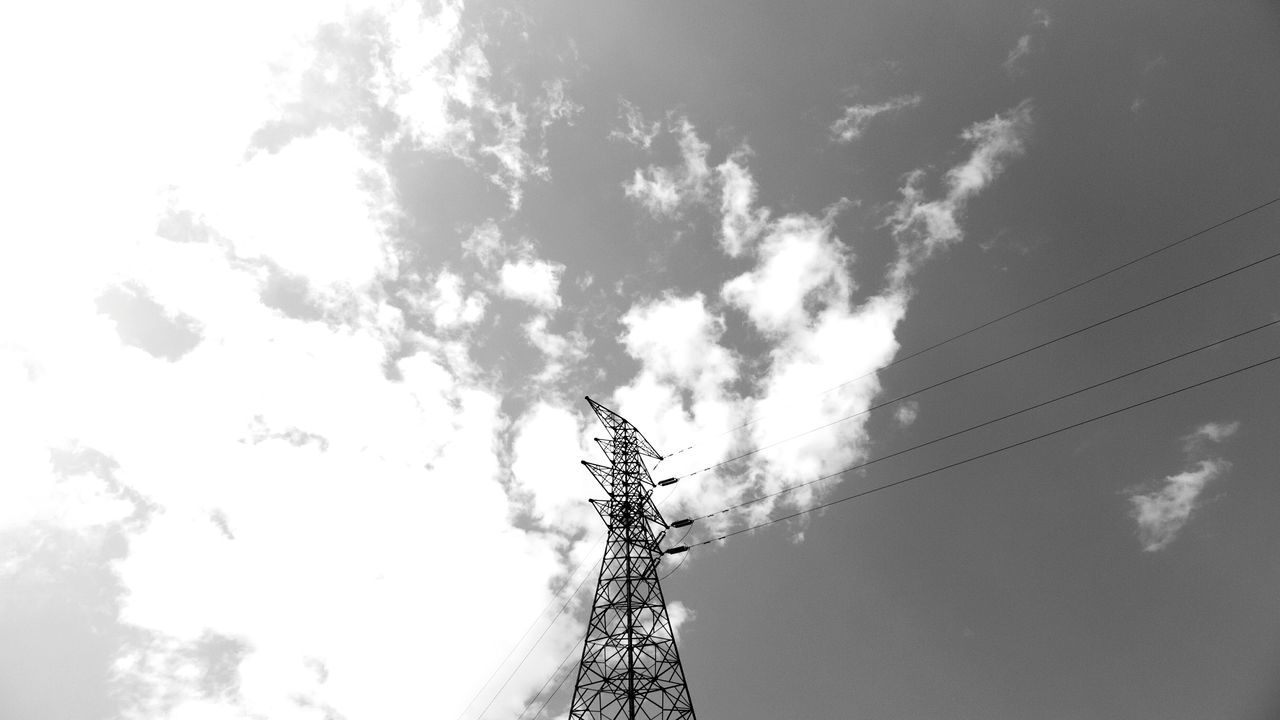sky, connection, cable, low angle view, technology, cloud - sky, day, no people, outdoors, nature