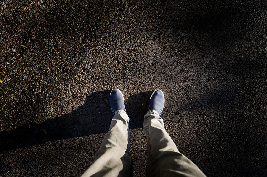 Day Directly Above High Angle View Human Body Part Human Leg Lifestyles Low Section Men One Man Only One Person Only Men Outdoors People Personal Perspective Real People Shadow Shoe Standing Sunlight