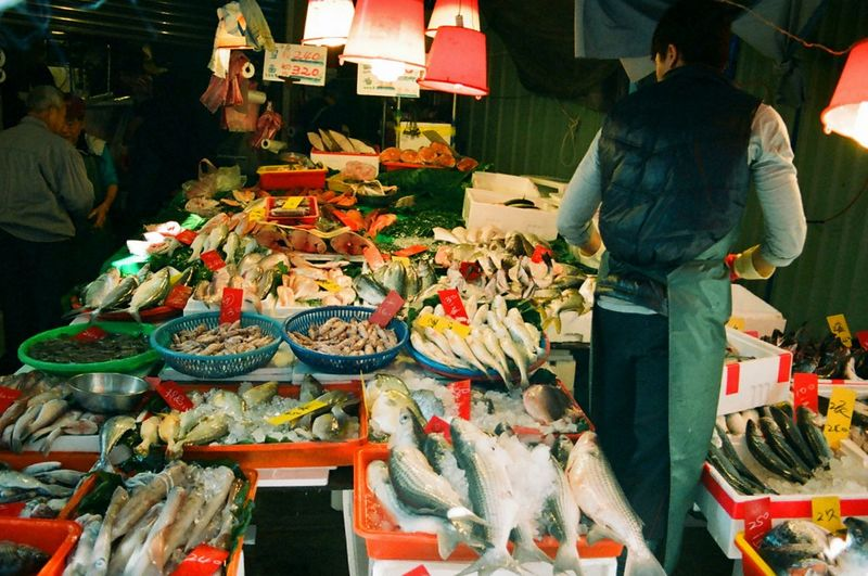 Vendor Fresh Fish FishMarket Fresh Produce Urban 4 Filter Seafood The Human Condition Streetphotography Urban Reflections 35mm Film