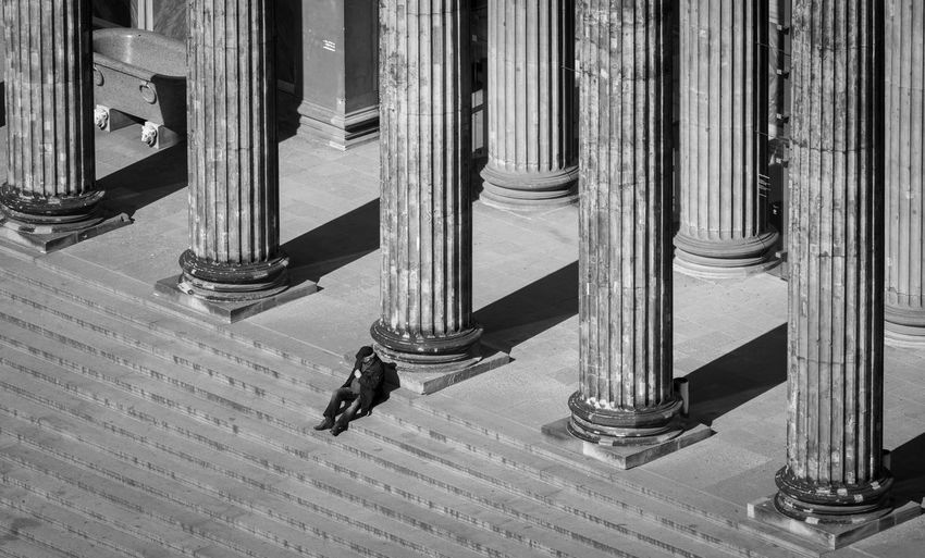 Black And White The Art Of Street Photography Krull&Krull Black And White Altes Museum Pillar Pillars Best Of Stairways Pause Break Alone Lonely Historic Old Famous Place City Architecture Architectural Column Staircase Built Structure Low Section No People Pattern Indoors  Steps And Staircases Day Railing High Angle View In A Row Metal Shoe Absence Close-up Arts Culture And Entertainment Building