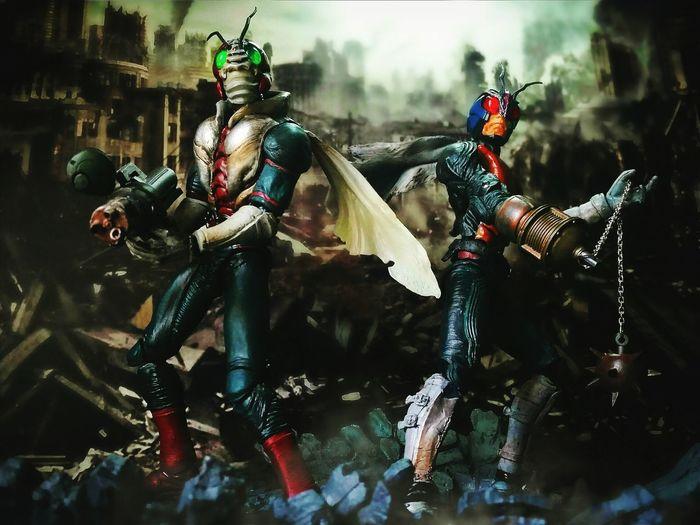 Kamen Rider V3 and Riderman First Eyeem Photo Kamenrider Toyphotography Superimaginativechogokin BANDAI Tokusatsu Tamashiinations Actionfigures