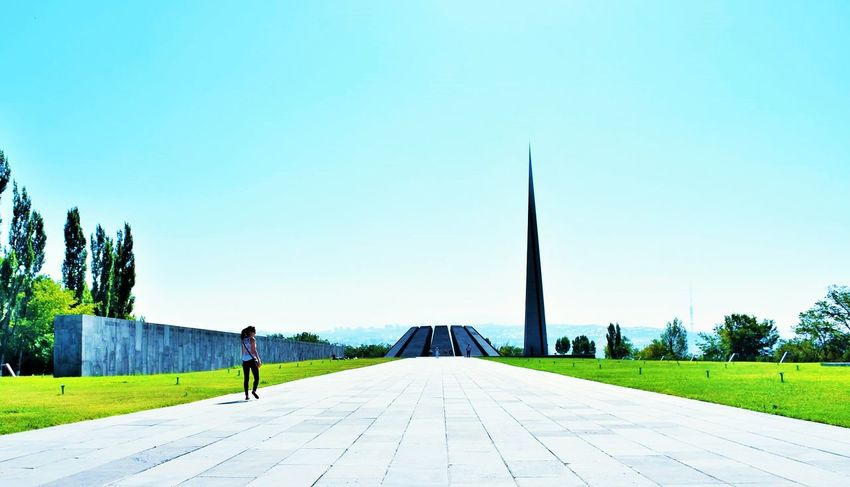 Armenia Armenian Genocide ArmenianGenocide Blue Clear Sky Day Diminishing Perspective Empty Footpath Grass Leisure Activity Lifestyles Long Narrow Nature Outdoors Pathway Road Sky The Way Forward Vanishing Point Walkway Yerevan