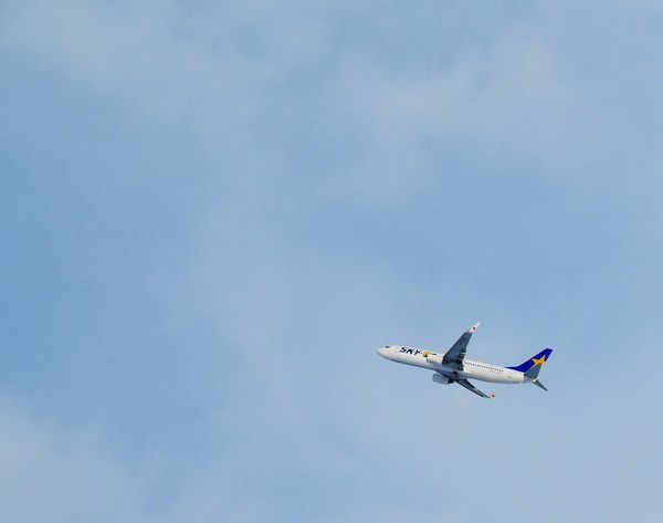 An airplane with a heart mark on its wings. An Airplane Blue Sky Airline Sky Photography Heart ❤ Skymark Airlines 飛行機 ひこうきびより
