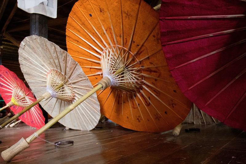 Umbrellas on hardwood floor