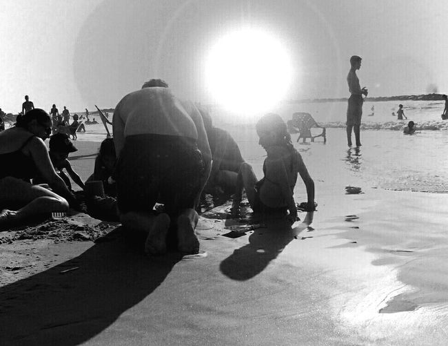 Live For The Story Beach Blackandwhite Black And White Travel Photography Beachlife Group Of People Sunshine Flare Summer Summerday Play