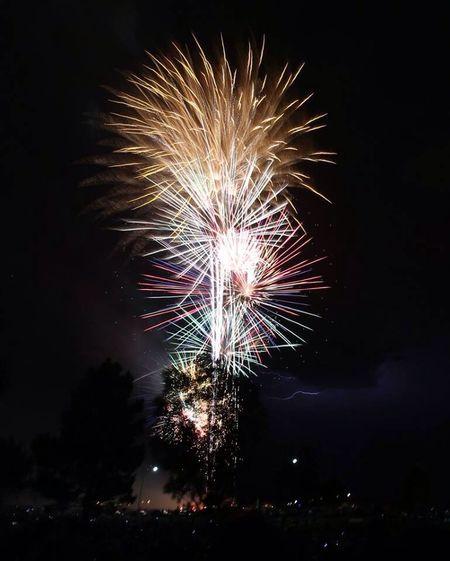 A little lightning, a lot of fireworks. Happy 4th. Fireworks Lightning Storm Las Vegas