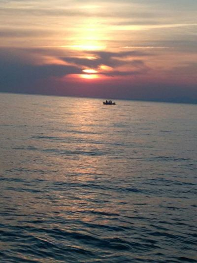 Greece Xalkidiki Greece Sunset Sea Boat