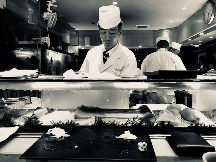 Tokyo sushi chef Food Sushi Japan Tokyo Indoors  Food Business Store Occupation Food And Drink Chef Commercial Kitchen first eyeem photo