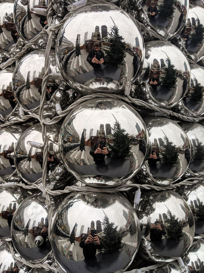Reflection Sphere Backgrounds Full Frame Glass - Material Silver Colored Christmas Ornament Large Group Of Objects Variation Shiny Still Life Christmas Decoration Ball Glass Shape Close-up