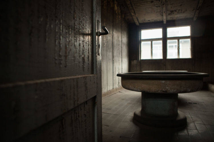 Concentration Camp Door Dreary Peeling Paint Prison Sink