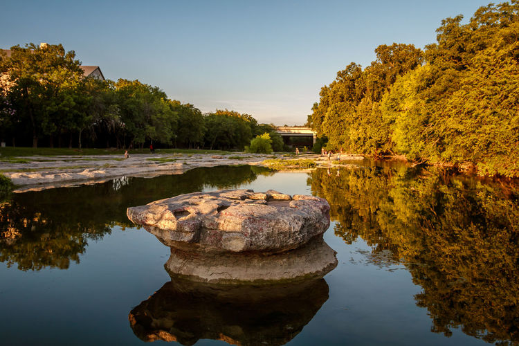 The Round Rock Round Rock Architecture Autumn Beauty In Nature Built Structure Clear Sky Day Lake Nature No People Outdoors Reflection Scenics Sky Tranquil Scene Tranquility Tree Water