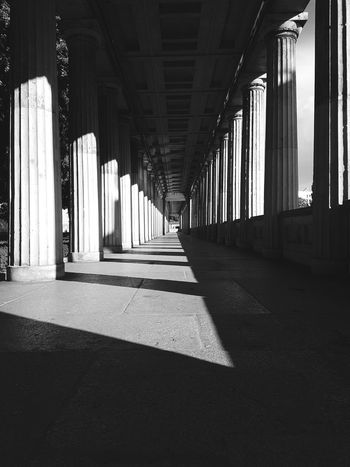Architectural Column Architecture Shadow Sunlight Corridor Built Structure Indoors  History Day No People Blackandwhite Vintage Style Vintage Discover Berlin Berlin The Week On EyeEm Museumsinsel Berlin Travel Destinations Travel Tourism Architecture Ancient Low Angle View Outdoors Symmetry Black And White Friday Black And White Friday