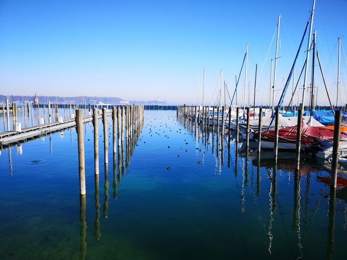 Water Nautical Vessel Blue Reflection Lake Moored Wooden Post Sky