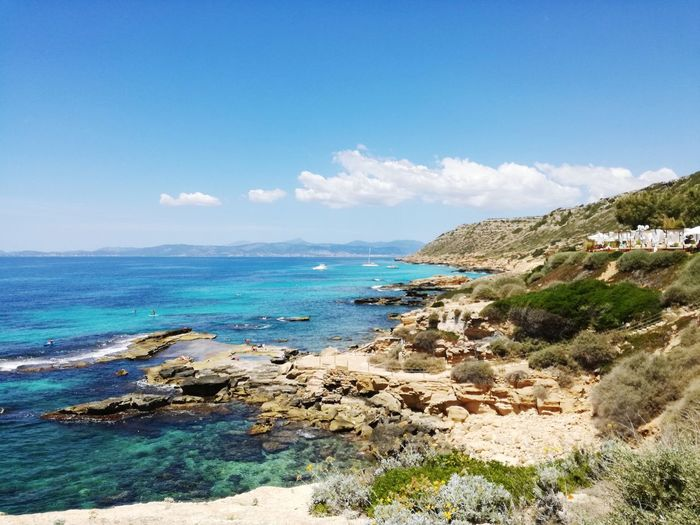 Mallorca Blue Sea Sea And Sky Water Sea Beach Sand Blue Tree Rock - Object Sunny Sky Horizon Over Water Rocky Coastline Seascape Coast Coastline Seashore Ocean Coastal Feature Turquoise Colored Bay Of Water