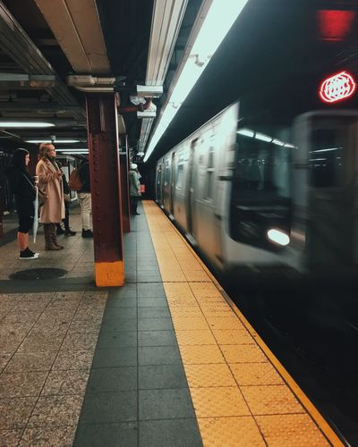 NYC New York New York City Subway Transportation Train Waiting Waiting For A Train Daily Life Winter Blurred Motion Commuting Traveling Travel Travel Photography United States Love First Eyeem Photo