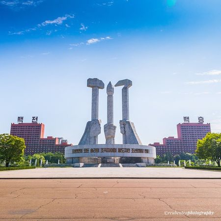 Morning walk at the Party Foundation Monument. Another awesome feat in Pyongyang . Another crazy symmetry found in the city. DPRK Northkorea For more photos please visit: http://bit.ly/1voXViD