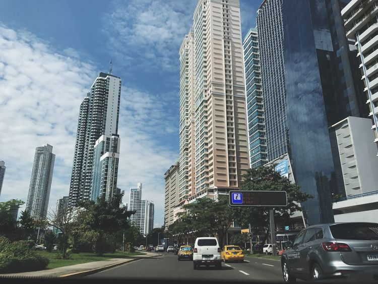 Driving in Panama City City Skyscraper Building Exterior Built Structure Car Modern Transportation Outdoors Day Panamá Panama City