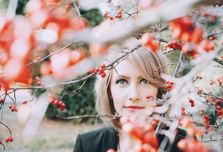 Wild Rose Wild Rose Fruit Red Fruits Looking At Camera Portrait Of A Woman Mountain Ash Mountain Ash Tree Women Focus On Background Tree Flower Beauty Young Women Branch Portrait Red Fairy Beautiful Woman Autumn International Women's Day 2019